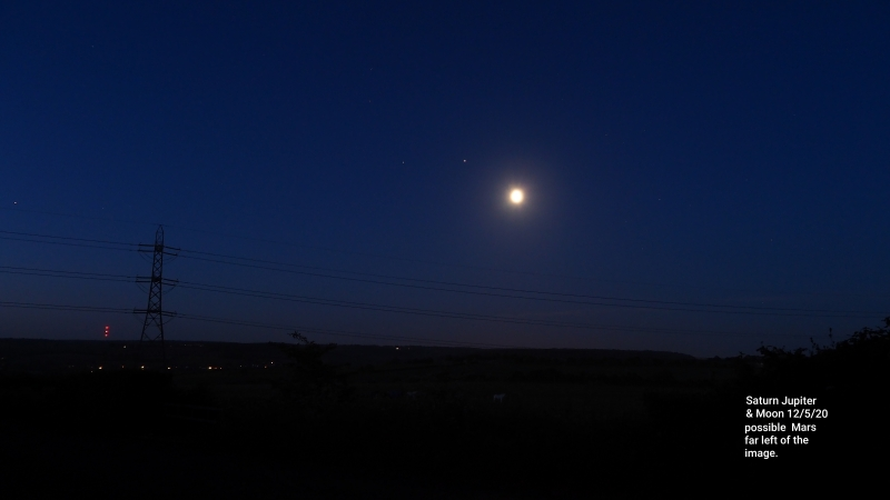 Conjunction of the Moon Jupiter Sature and Mars
