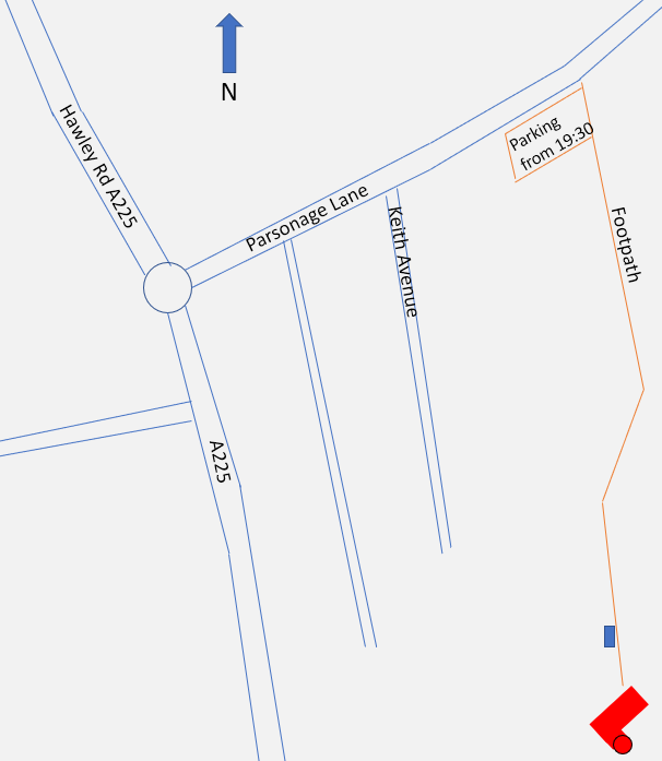 Location of the Dick Chambers Observatory, home of Crayford Manor House Astronomical Society Dartford.
